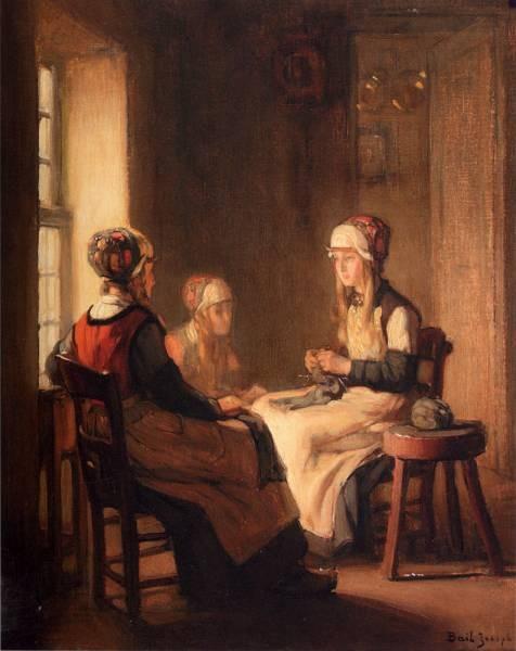 A Interior With Marken Girls Knitting